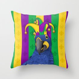 Jake the Jester - Mardi Gras Macaw Throw Pillow