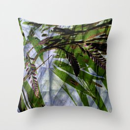 Crocosmia Shimmer in Sky, Leaf, Bronze Throw Pillow