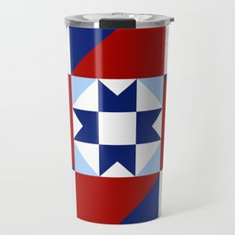 Red White and Blue Quilt Pattern Travel Mug