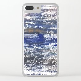 Gray Blue Marble abstract watercolor Clear iPhone Case