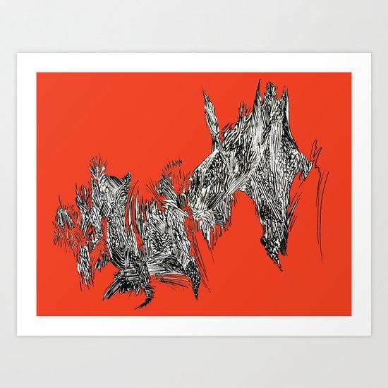 Waterfall in Red Art Print