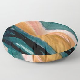 Breathe: a vibrant bold abstract piece in greens, ochre, and pink Floor Pillow