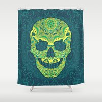 sugar skull Shower Curtains featuring Sugar skull by Julia Badeeva