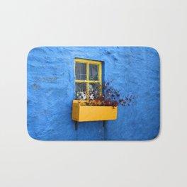 FLOWER - BOX - YELLOW - BLUE - WALL - PHOTOGRAPHY Bath Mat