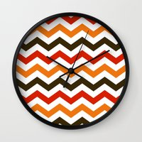 thanksgiving Wall Clocks featuring Thanksgiving Chevron by Designs By Misty Blue (Misty Lemons)