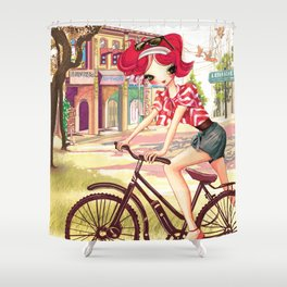 Liselle Cycles to Penang Shower Curtain