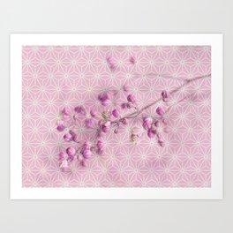 Flower buds, Star pattern montage Art Print