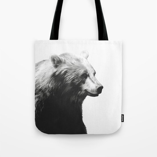 Bear // Calm (Black + White) Tote Bag