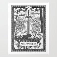 Legend of Zelda Master Sword Vintage Tarot Scene Art Print