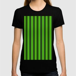 Bright Green and Black Vertical Var Size Stripes T-shirt