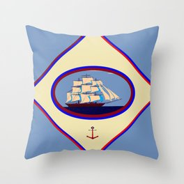 A Nautical Scene with Clipper Ship with Country Blue Background Throw Pillow