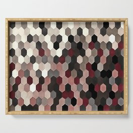 Hexagon Pattern In Gray and Burgundy Autumn Colors Serving Tray