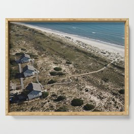 Captain Charlie's Station   Drone Photo   Bald Head Island, NC Serving Tray