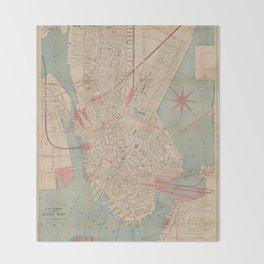 Vintage Map of Boston MA (1882) Throw Blanket