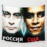 russia Wall Tapestries featuring Russia  USA by Pavlo Tereshin