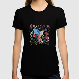 Folk Art Inspired Hummingbird With A Flurry Of Flowers T-shirt