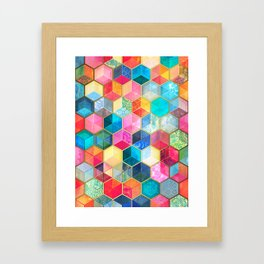 Crystal Bohemian Honeycomb Cubes - colorful hexagon pattern Framed Art Print