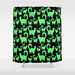 Green Snobby Cats Shower Curtain