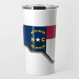 North Carolina Map with North Carolinian Flag Travel Mug
