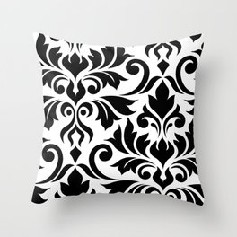 Flourish Damask Art I Black on White Throw Pillow