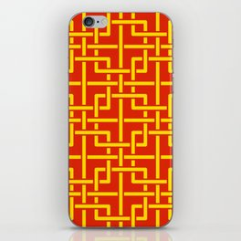 Tangled squares Chinoiserie in Chinese flag's colors iPhone Skin