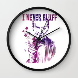 I never Bluff - poker, purple Wall Clock