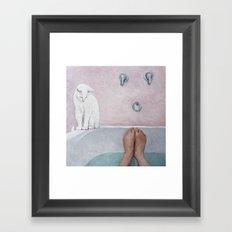 bath with a white cat Framed Art Print