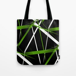 Seamless Grass Green and White Stripes on A Black Background Tote Bag
