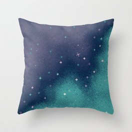 Lilac and Aqua Pixel Galaxy Throw Pillow