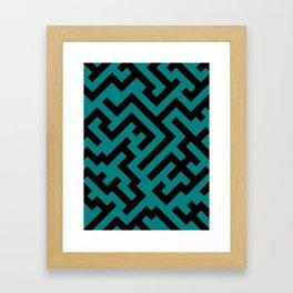 Black and Teal Green Diagonal Labyrinth Framed Art Print