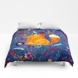 The Smart Fox in Flower Garden Comforters