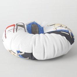 blue dog house Floor Pillow