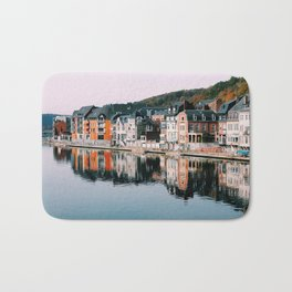 VILLAGE - HOUSE - RIVER - REFLECTION - PHOTOGRAPHY Bath Mat