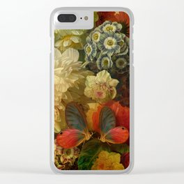 """""""Baroque Spring of Flowers and Butterflies"""" Clear iPhone Case"""