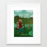 oregon Framed Art Prints featuring Oregon by Santiago Uceda
