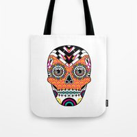 deco Tote Bags featuring Deco Skull by Jorge Garza