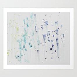 indigo blue green watercolor Art Print