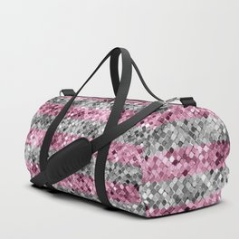 Pink and Silver Glitter Sequin Stripes Duffle Bag