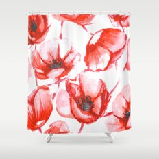 Flora Poppy Shower Curtain