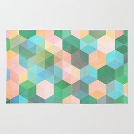 Child's Play - hexagon pattern in mint green, pink, peach & aqua Rug