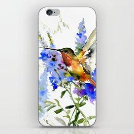 Alen's Hummingbird and Blue Flowers, floral bird design birds, watercolor floral bird art iPhone Skin