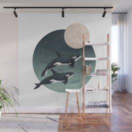 moonlight caravan // orcas Wall Mural