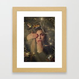 woman portrait and kolibri Framed Art Print