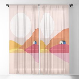 Abstraction_Mountains_Simple_House_Minimalism Sheer Curtain