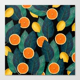 Lemons And Oranges On Black Canvas Print