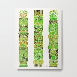 Tiki Totems – Green Metal Print