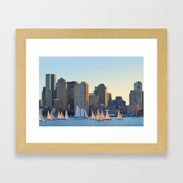 The Boston Skyline From East Boston MA Framed Art Print