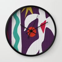 matisse Wall Clocks featuring Inspired to Matisse (violet) by Chicca Besso