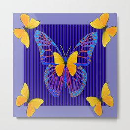 MODERN BLUE BUTTERFLIES ART Metal Print