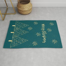Merry Christmas Teal Gold Rug